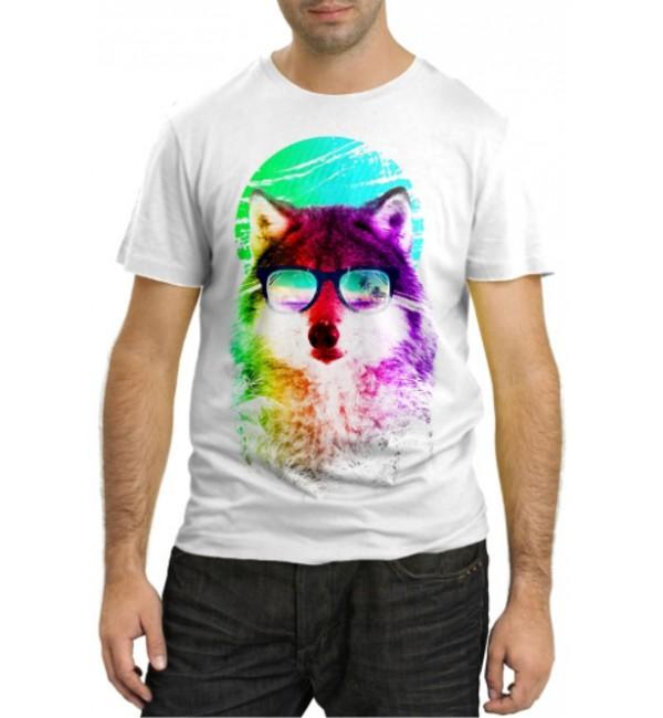 Модная футболка Разноцветный волк