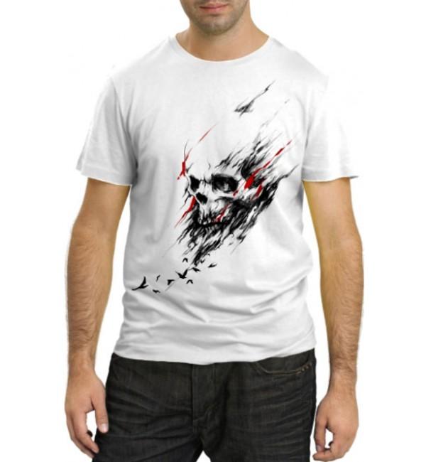Модная футболка Череп и птицы