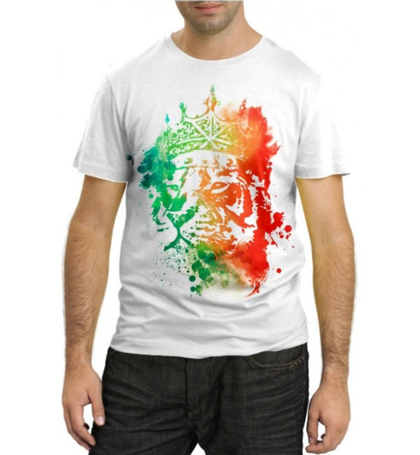Модная футболка Разноцветный лев