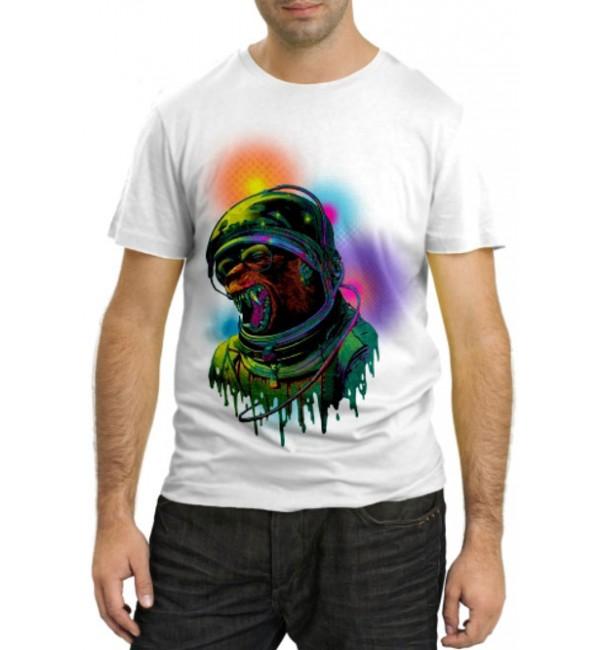 Модная футболка Обезьяна астронавт