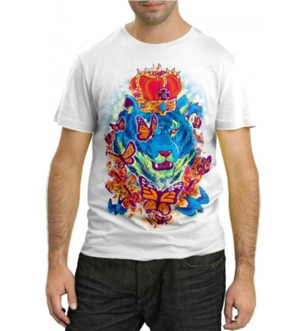 Модная футболка Лев и бабочки