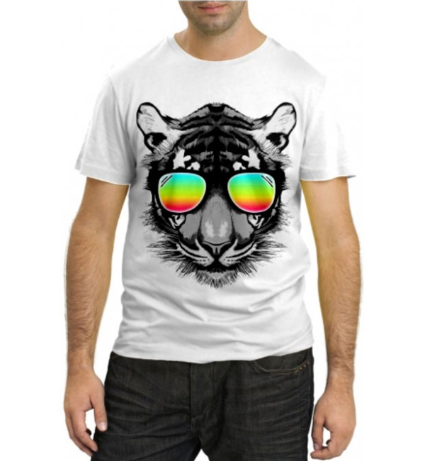 Модная футболка Тигр в очках