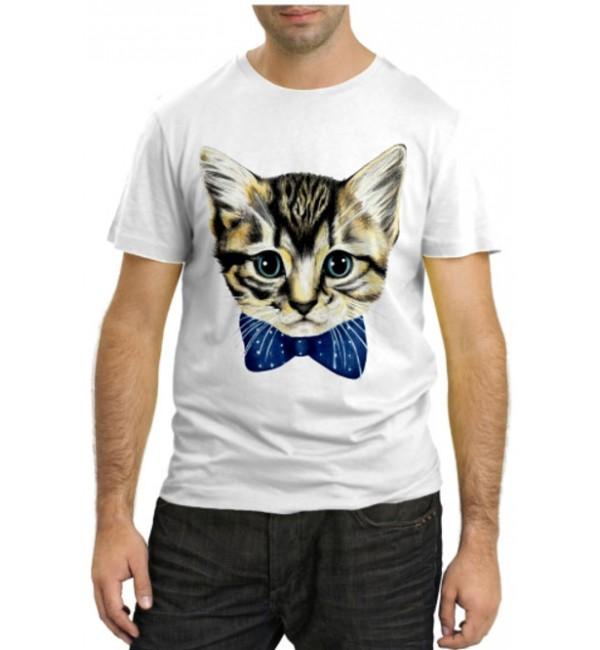 Модная футболка Кот в бабочке