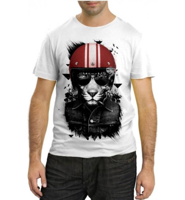 Модная футболка Лев крутой гонщик