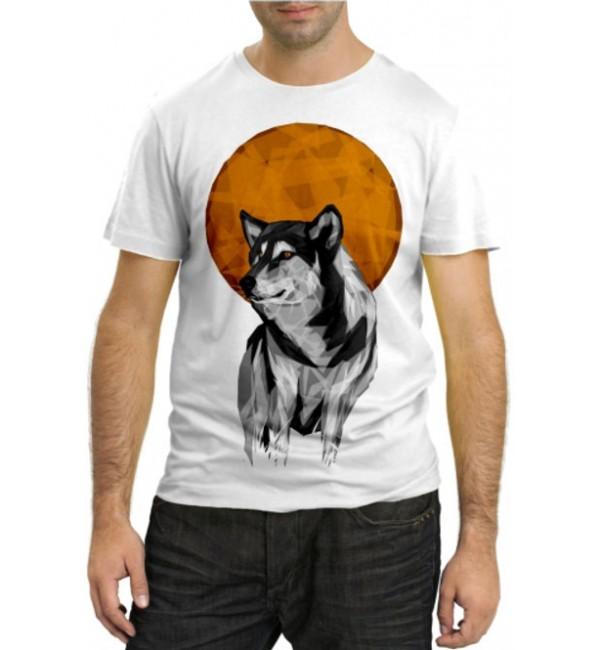 Модная футболка Волк и луна