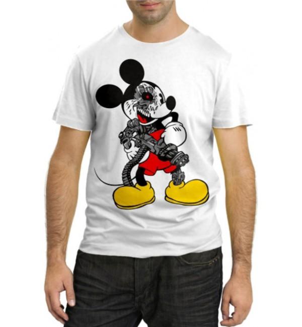 Модная футболка Злой Микки с пулеметом