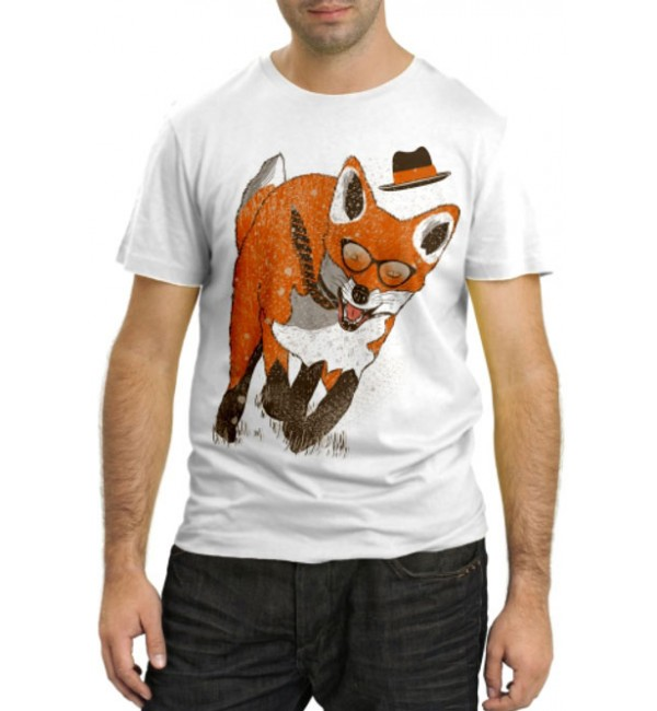 Модная футболка Лиса бежит
