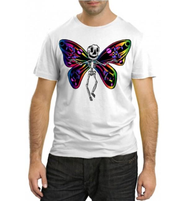 Модная футболка Бабочка-скелет