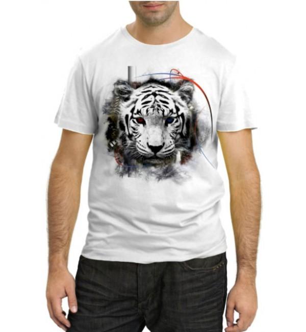 Модная футболка Тигр с разноцветными глазами