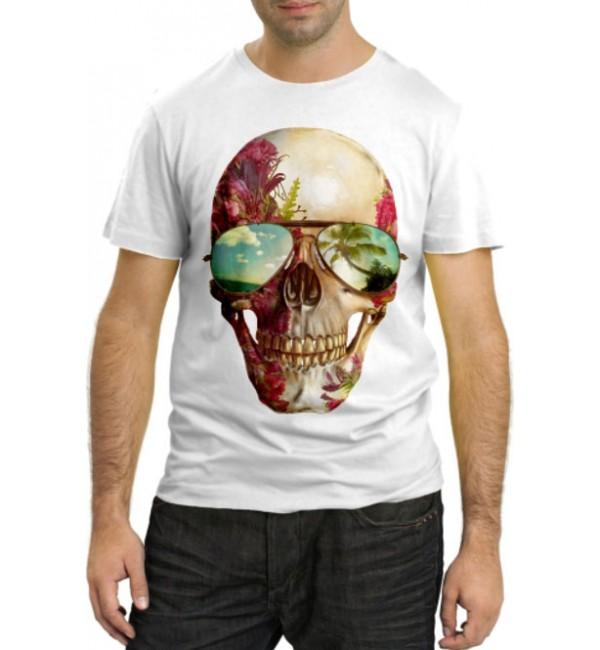 Модная футболка Цветочный череп в очках