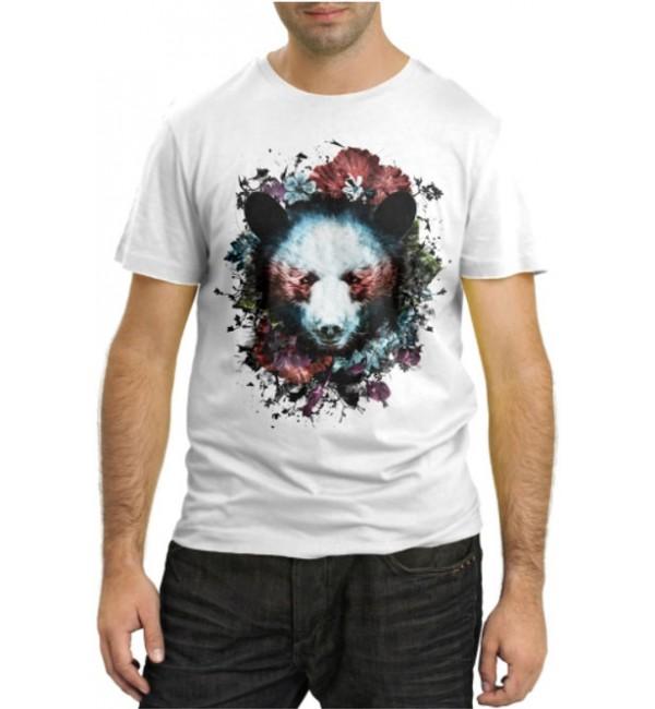 Модная футболка Медведь и цветы