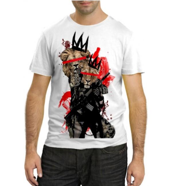 Модная футболка Львы с оружием