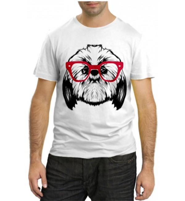 Модная футболка Болонка в очках