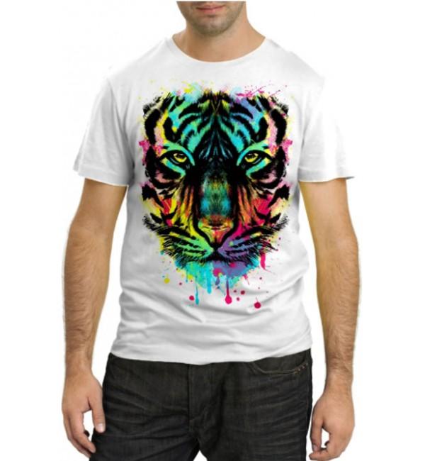 Модная футболка Тигр в красках