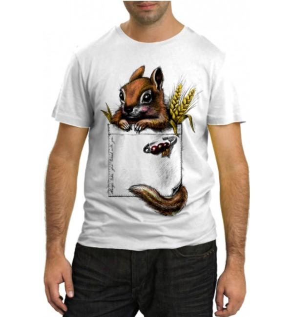 Модная футболка Белочка в кармане