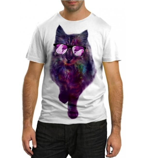 Модная футболка Разноцветный кот в очках