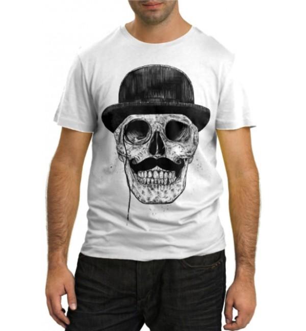 Модная футболка Череп в котелке
