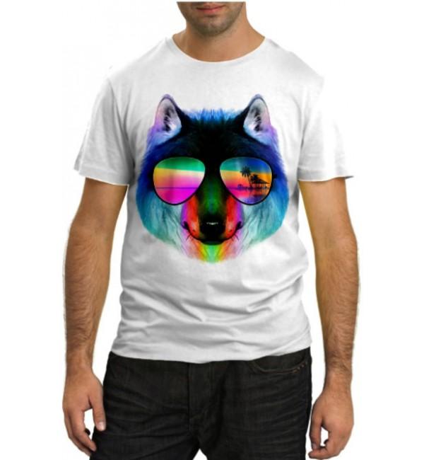 Модная футболка Радужный волк