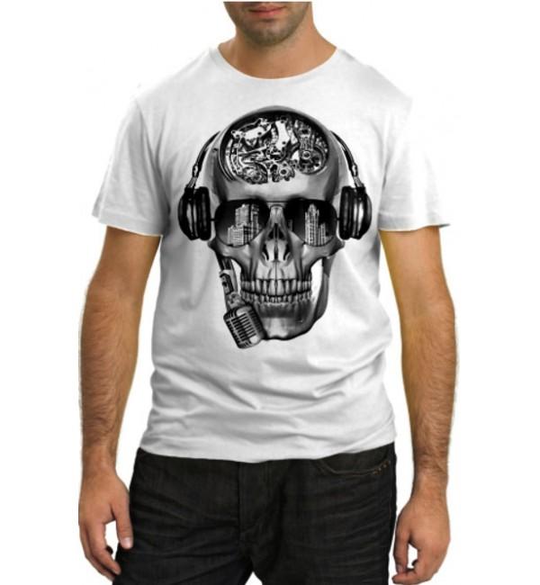 Модная футболка Череп певец