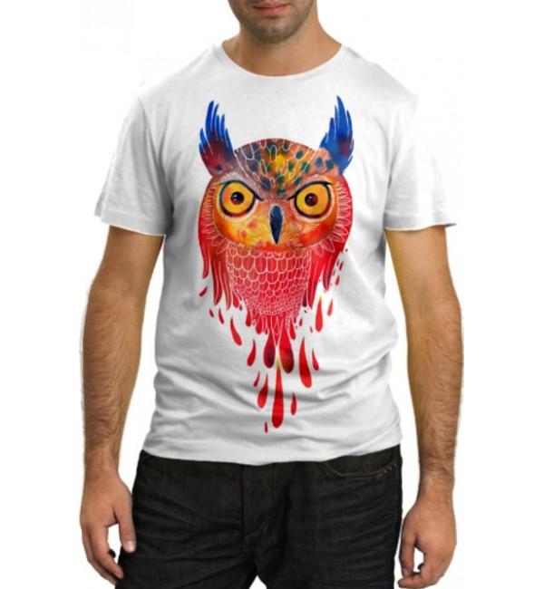 Модная футболка Разноцветная сова