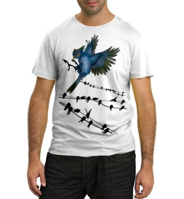 Модная футболка Птички на проводах