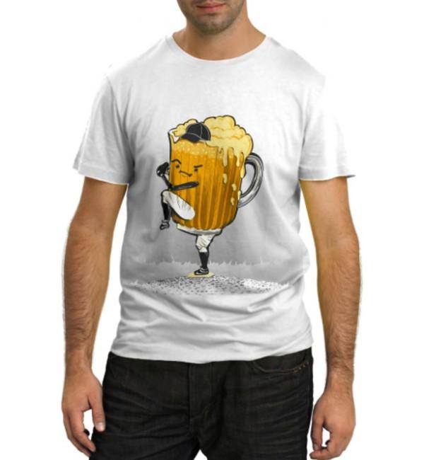 Модная футболка Бейсбольная кружка пива