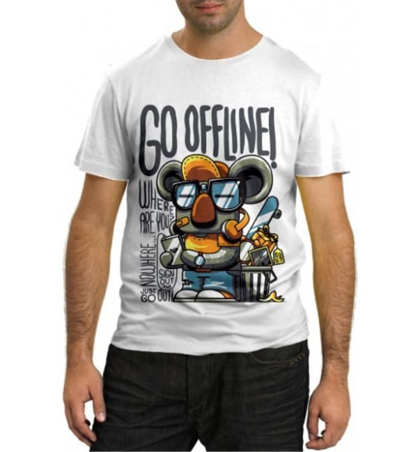 Модная футболка Go offline!