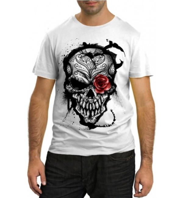 Модная футболка Череп с розой