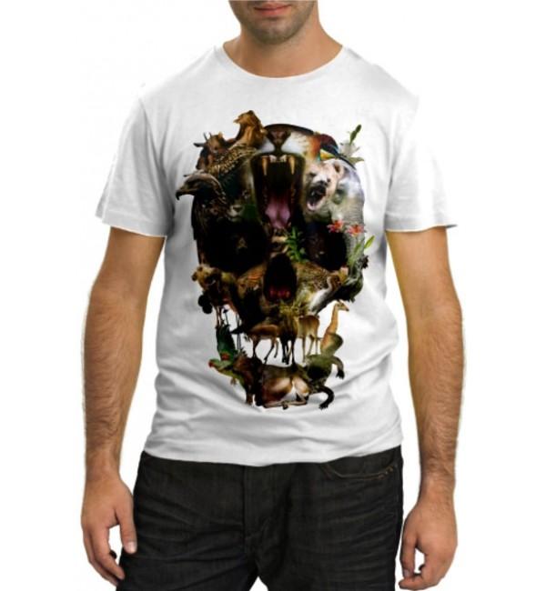 Модная футболка Череп дикая природа