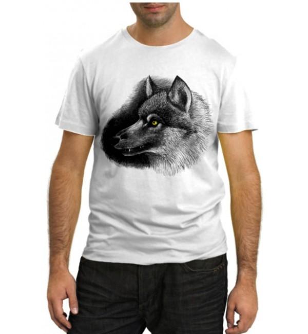 Модная футболка Волк с желтыми глазами