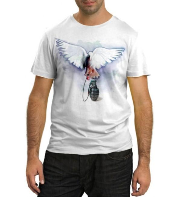 Модная футболка Голубь с гранатой