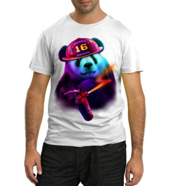 Модная футболка Панда пожарный