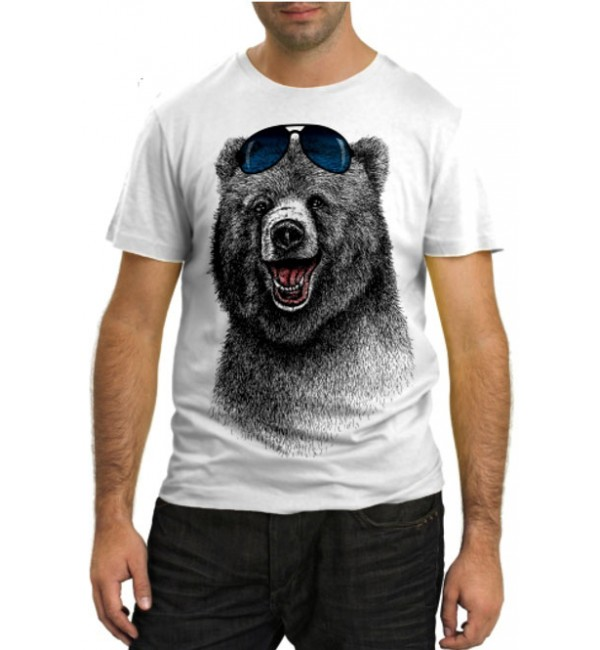 Модная футболка Медведь с очками