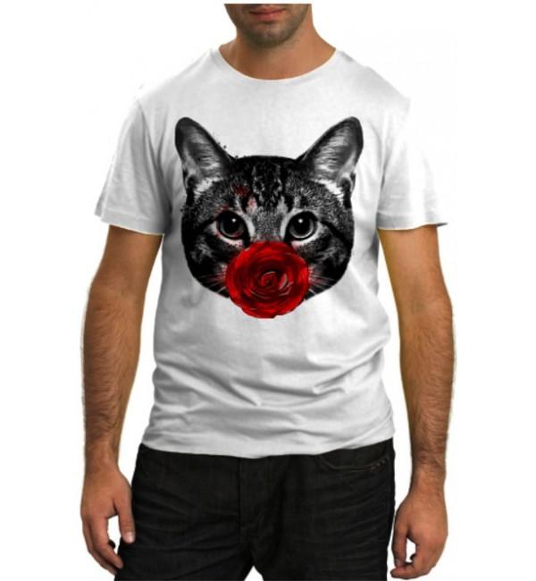 Модная футболка Кот с красным цветком