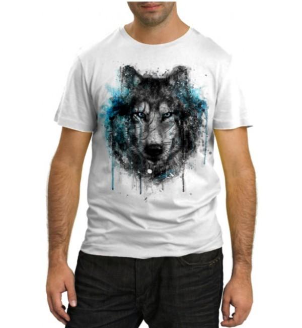 Модная футболка Волк в красках