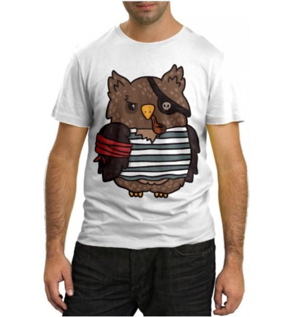 Модная футболка Сова-пират