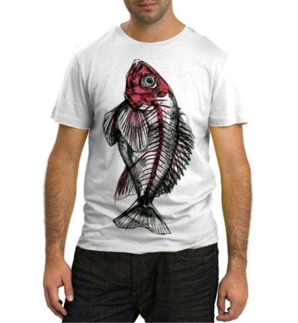 Модная футболка Скелет рыбы