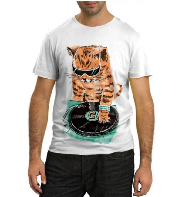 Модная футболка Кот Ди-Джей