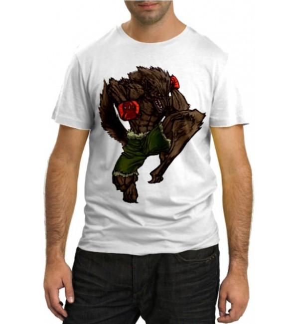 Модная футболка Волк боец