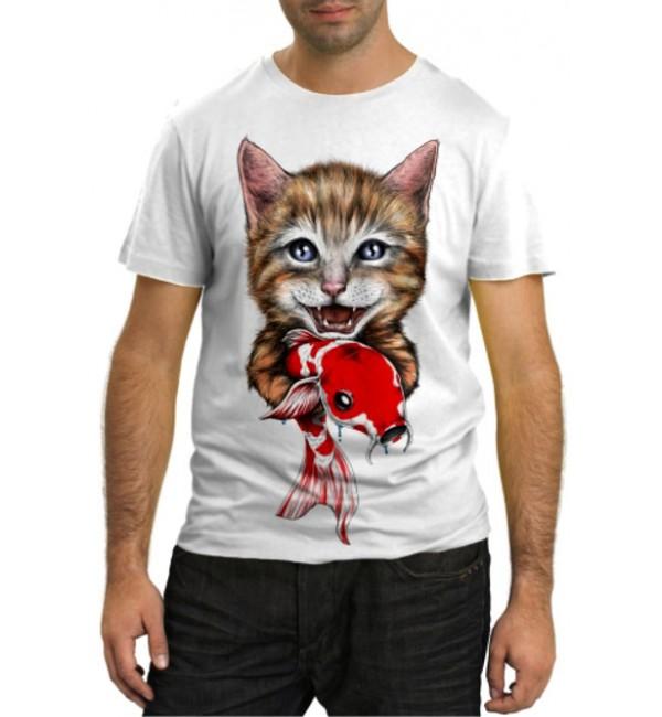Модная футболка Кот и рыбка