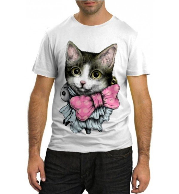 Модная футболка Кошечка с бантиком