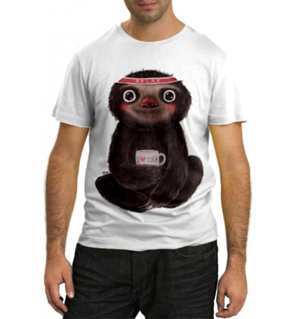 Модная футболка Ленивец йог