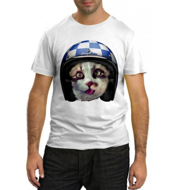 Модная футболка Кот в шлеме