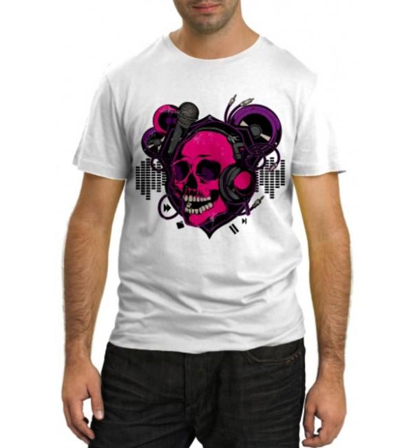 Модная футболка Череп меломан