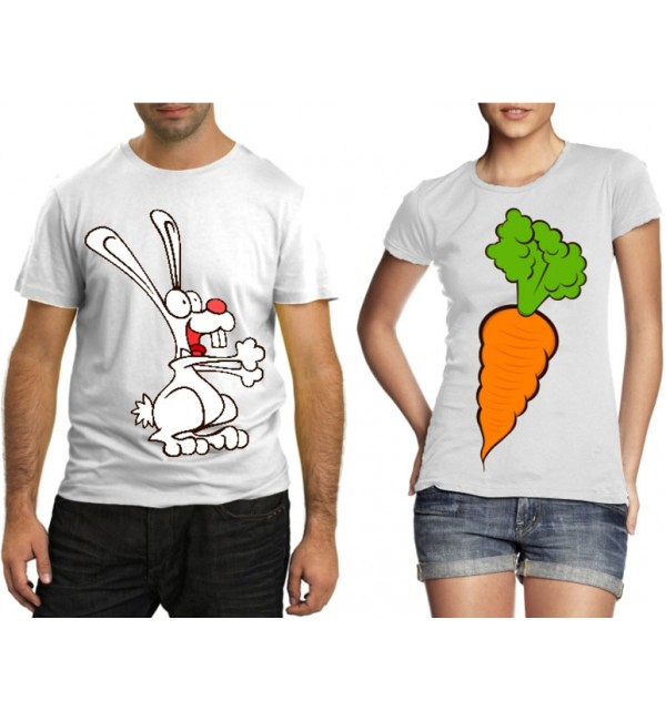 Футболки для двоих Заяц с морковкой