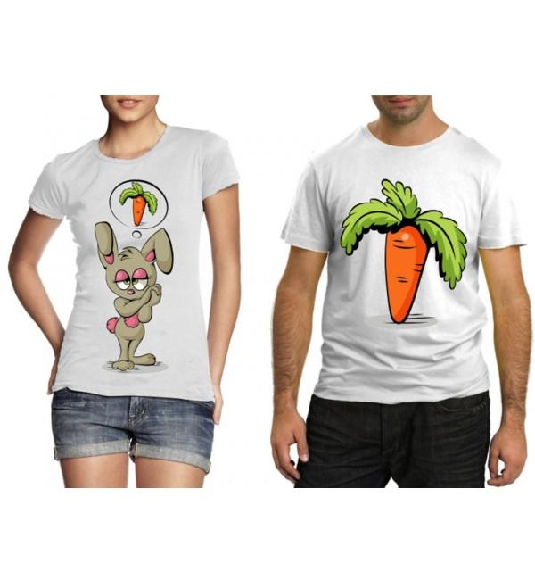 Парные футболки Зайка с морковкой