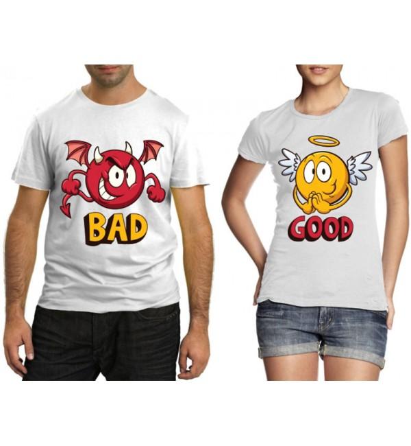 Парные футболки Bad, Good