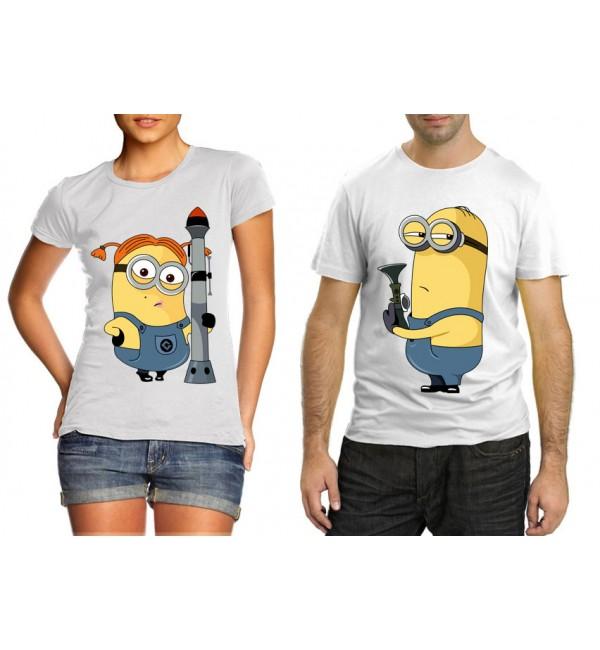 Парные футболки для двоих Пара Миньйоны