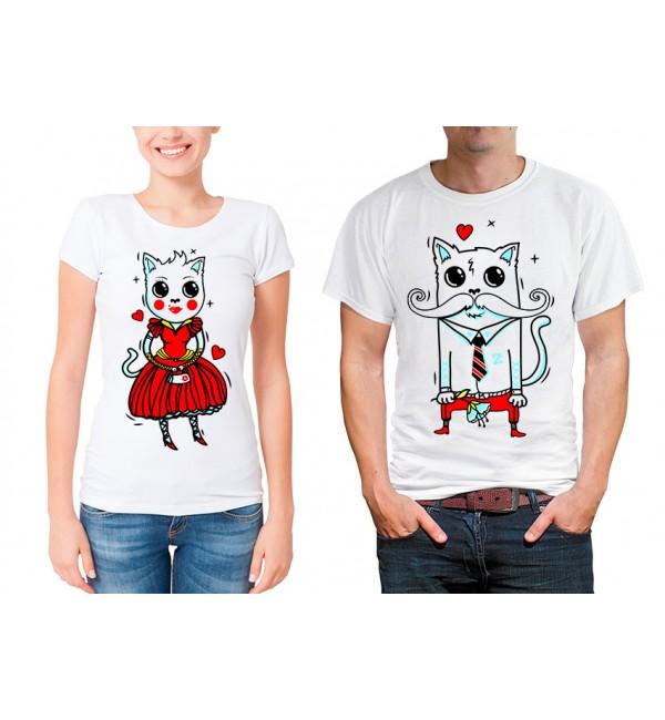 Парные футболки для двоих Кот и кошка