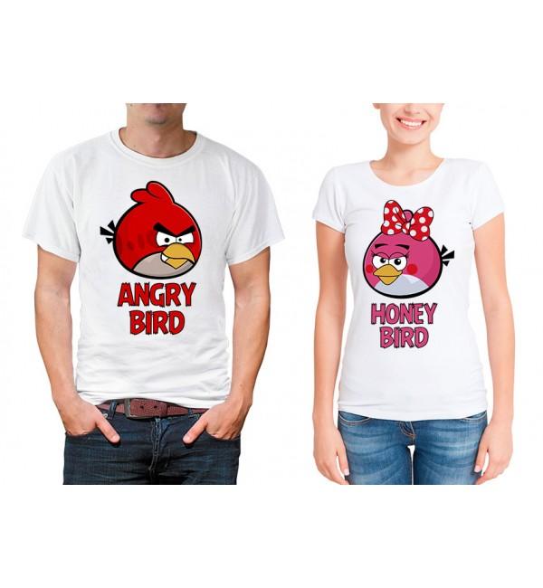Парные футболки для двоих Angry Bird